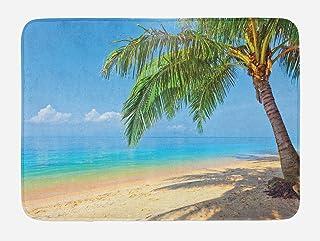 Ambesonne Landscape Bath Mat, Tropic Botanic Image with Coconut Palms Near Ocean Sea Beach Photo, Plush Bathroom Decor Mat...
