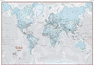 Maps International - Large Map Of The World – Silk Art Print World Map – Aqua Tones - 33 x 23