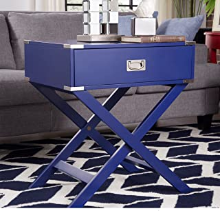 ModHaus Living Modern Wood Accent X Base Nightstand Campaign Sofa Table Rectangle Shaped with Storage Drawer - Includes Pen (Blue)