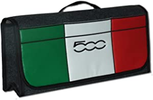 Car Boot Tidy Organizer Storage Bag with Italian Flag Leatherette Front Pocket for 500