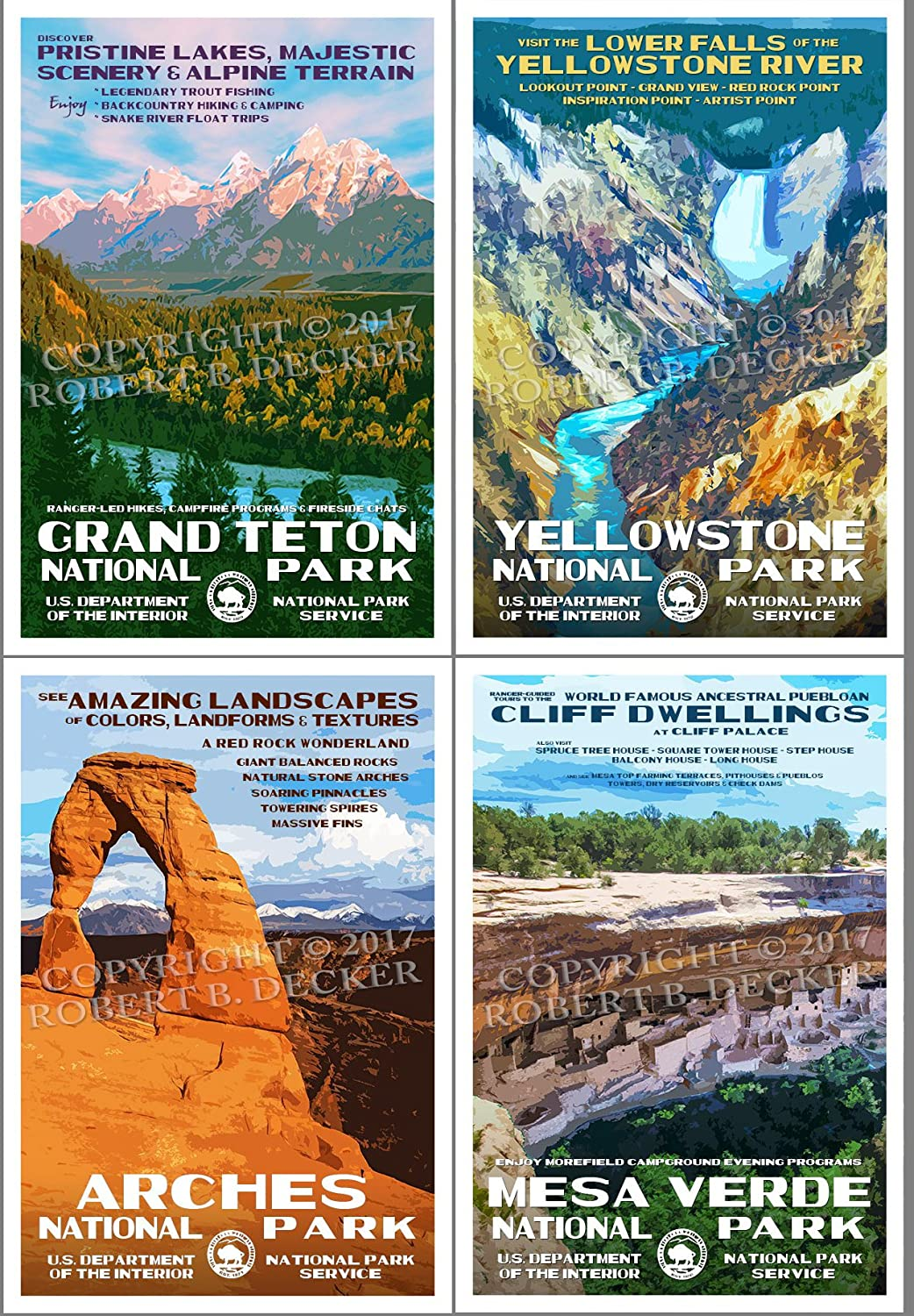 National Park Posters - Complete Free Shipping 4 Pack X Super sale period limited 19 Artwork Original 13