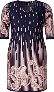 Women's Plus Size Stretch V Neck Paisley Printed Casual Dress with Side Pockets
