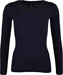 Tommy Hilfiger Womens Scoop Neck Cable Knit Sweater (XX-Large, Navy)