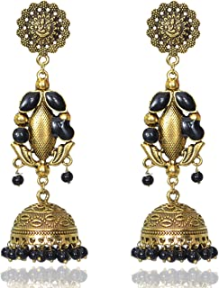 Sansar India Oxidized Stud Long Jhumka Indian Earrings Jewelry for Girls and Women 1189a