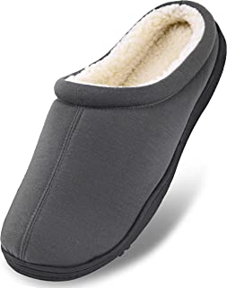 Men's Winter Warm Fleece Lined Memory Foam Slippers Slip On Clogs Indoor Outdoor House Shoes with Anti Skid Sole