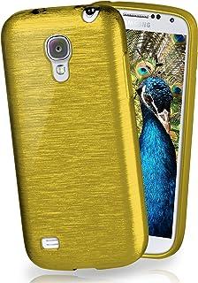 MoEx® Funda de Silicona con Aspecto Aluminio Cepillado Compatible con Samsung Galaxy S4 en Vert