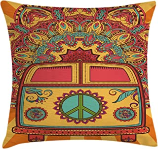 Ambesonne 70s Party Throw Pillow Cushion Cover, Hippie Vintage Mini Van Ornamental Backdrop with Peace Sign Artwork, Decorative Square Accent Pillow Case, 16