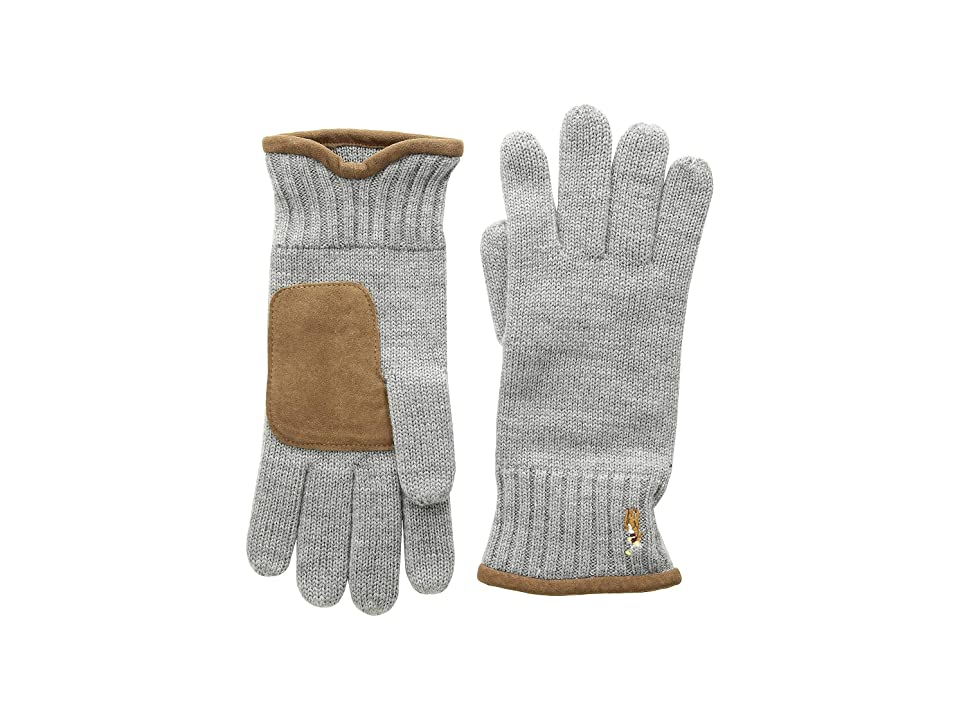 Polo Ralph Lauren Classic Lux Merino Gloves with Leather Palm (Dark Vintage Heather) Wool Gloves