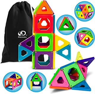 Discovery Kids Magnetic Tile Set Building Blocks Construction Kits 25 Piece in 6 Colors, STEM Educational Logic, Creativity & Imagination Toy Kit, For Preschool Storage Bag Included [Upgraded Version]