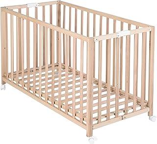 """roba Klappbett """"Fold Up"""", Babybett 60x120 cm, Gitterbett Bio Buche natur, Bettchen 3-fach höhenverstellbar, platzsparendes Kinderbett inkl. Rollen zum Klappen"""