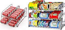 SimpleHouseware Beverage Can Dispenser Rack + Stackable Can Rack Organizer, Chrome
