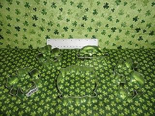 St Pattys Day Shamrock 4 Leaf Clover Pot o Gold Irish Derby Cookie Cutter Fabric (Iris Derby) ntKN03