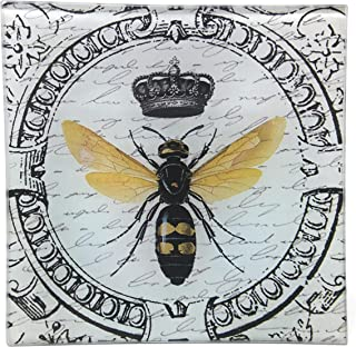 Value Arts Imperial French Honey Bee Glass Decor Dish Tray, 5.75 Inches Square, Coin Soap Catchall Keys