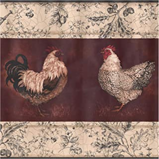 Prepasted Wallpaper Border - Beige Black White Rooster Hen Wine Red Wall Border Retro Design, Roll 15 ft. x 10.25 in.