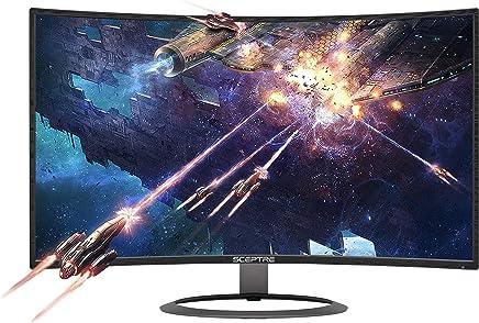 "Sceptre 27"" Curved 75Hz LED Monitor C278W-1920R Full HD 1080P HDMI DisplayPort VGA Speakers, Ultra Thin Metal Black, 1800R immersive Curvature, 2018"