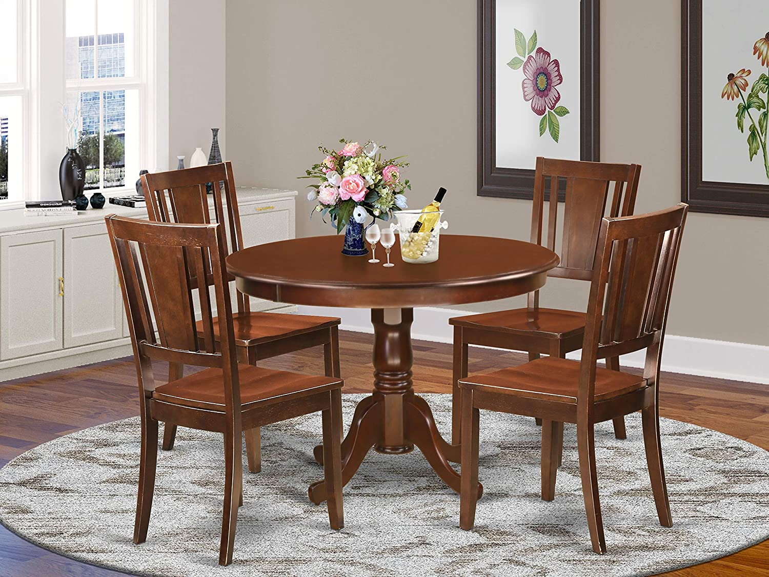 East West Furniture 9 Pc Dining Room Set Included a Round Kitchen Dining  Table and 9 Wood dining Chairs   Solid Wood Dining Chairs Seat & Panel Back    ...