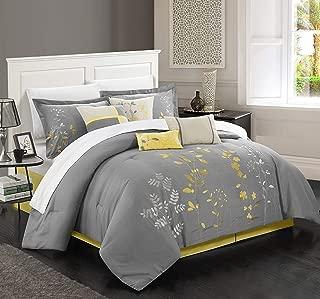 Chic Home 8 Piece Bliss Garden Comforter Set, Queen, Yellow