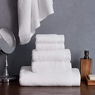 Welhome Madison Hygro Cotton Tencel 6 Piece Towel Set (White) - Premium - Ultrasoft - High Absorbency - Durable - Hotel Spa Bathroom Towel Collection - 575 GSM - 2 Bath - 2 Hand - 2 Wash Towels