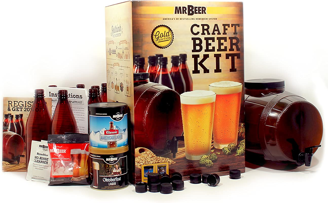 Mr Beer 2 Gallon Complete Starter Beer Making Kit Perfect For Beginners Designed For Quick And Efficient Homebrewing Premium Gold Edition