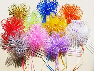 SaPeal 10Pcs Gift Bows Elegant Beautiful Festival Assorted Colors Crystal Yarn Pull Bows/Christmas Gift/Basket Knot with Ribbon Strings to Wrap The Box or Floral Decoration