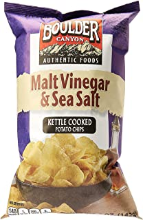 Boulder Canyon Malt Vinegar and Sea Salt Kettle Cooked Potato Chips, 142 g