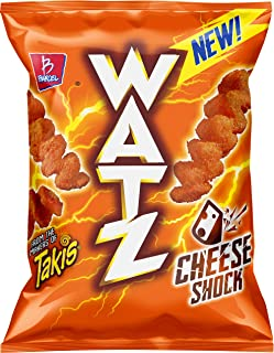 Barcel Watz Cheese Shock - Cheese Flavored Puffs, Box of 10 Individual Bags