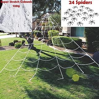 JOYIN Halloween Decorations, 23X18 ft Triangular Mega Spider Web for Outdoor Halloween Decor Yard, with 120g Super Stretch Cobweb, 24 Spiders White