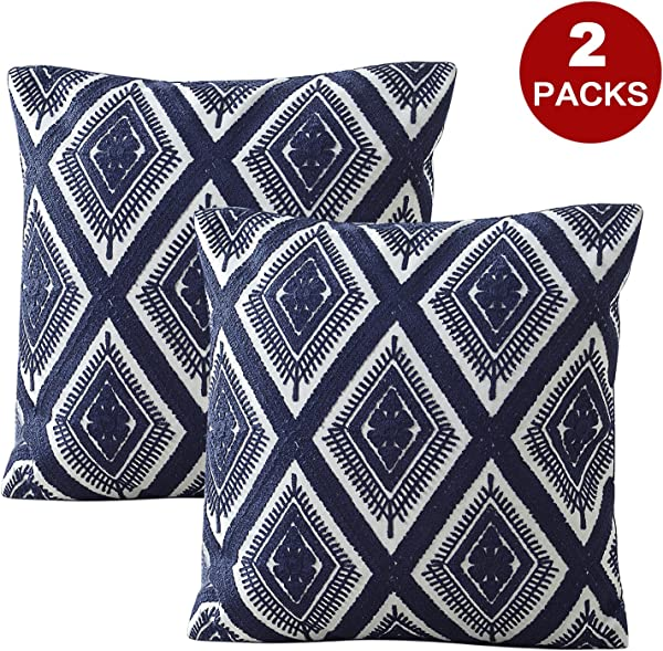 LIFONDER Embroidery Decorative Throw Pillow Covers Geometric Diamond Pattern Cotton Cushion Covers Pillow Shams Cases With Invisible Zipper For Sofa Couch Chair 18x18 Inch Navy Blue Set Of 2