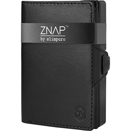 ZNAP Credit Card Holder with Money Clip - Aluminium Wallet with Coin Case - RFID Blocking - Slim Wallet Black Smooth - Up to 12 Cards - Mens Card Wallet - Wallet by SLIMPURO - RFID Card Holders