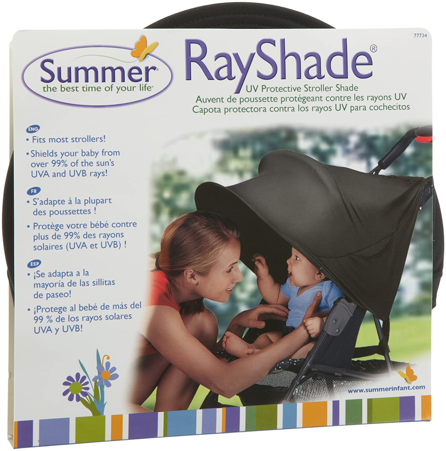 RayShade UV Protective Stroller Shade Improves Sun Protection for Strollers, Joggers and Prams Black (Discontinued by Manufacturer)