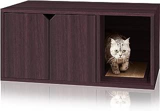 Way Basics Eco Friendly Modern Cat Litter Box Furniture Enclosure, Black Wood Grain