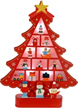 WeRChristmas Pre-Lit Wooden Christmas Tree Decoration with 5 Warm White LED Lights - 31 cm, Red