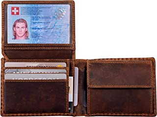 DiLoro Wallets for Men Bifold RFID Leather Mens Wallet Flip ID Coin Compartment (Antique Brown)
