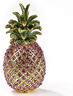 KALIFANO Decorative Pink Pineapple Jewelry/Keepsake Box with Swarovski Element Crystals for Storage and Organization - Handmade Magnetic Trinket Box