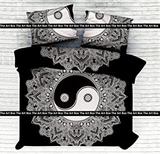 The Art Box Black & White Cotton Mandala Duvet Bedding Bedspread Throw Reversible Handmade Blanket Hippie Duvet Doona Cover Yin Yang Comforter Set (Queen Size)