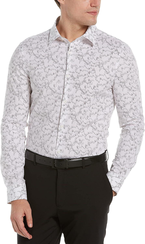 Perry Ellis Men's Slim Fit Marble Print Long Sleeve Stretch Button-Down Shirt