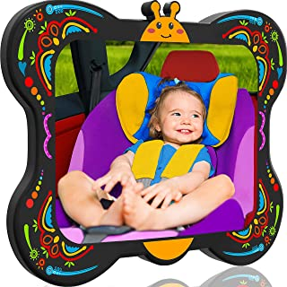 COZY GREENS Baby Car Mirror Butterfly | 100% Lifetime Satisfaction Guarantee | Shatterproof & Crash Tested | Largest and Most Stable | Baby Mirror for Car Carseat | Mirrors Backseat Rear Facing Kids
