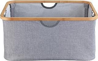 WENKO Panier à linge Bahari, panier à linge moderne avec bâti en bambou de qualité supérieure, repliable à des dimensions ...