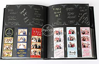 Paper Cut Design Shop Photo Booth Album Box Included Slip-in Plastic Slots Elegant Leatherette Black Album 2x6 Photos