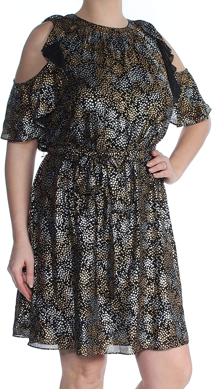 Michael Kors Virginia Beach Mall Omaha Mall Women's Dress Cold-Shoulder Metallic