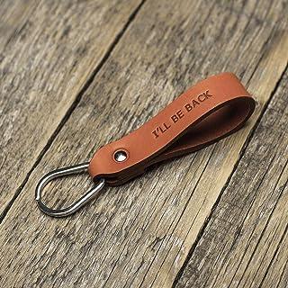 Naranja llavero de cuero, anilla personalizada, llavero con monograma, llavero leontina soporte con grabado personalizado,...