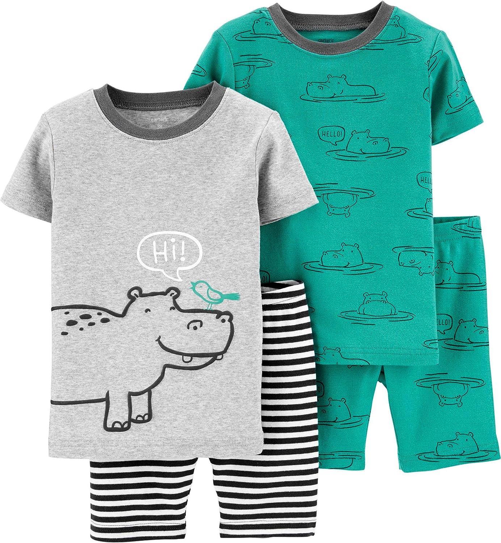 Carter's 4-Piece Baby-boy Sung fit Cotton Pajamas (Hippo, 24m)