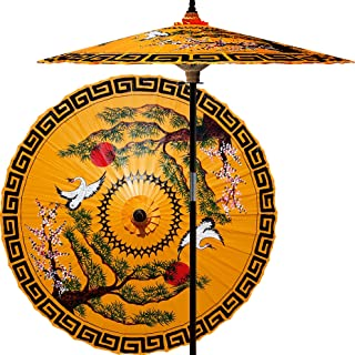Oriental-Decor 7 Foot Tall Hand-painted Patio Umbrella Mirrored Cranes in Orange, Handcrafted Bamboo Dual-Height Market Umbrella with Hardwood 2-Piece Pole