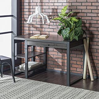 WE Furniture Modern Industrial Computer Gaming Desk Storage Shelves and Drawer with Electrical Outlet Home Office, 48