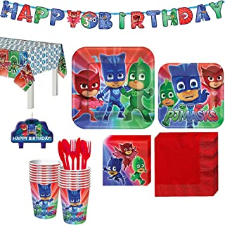 Party City PJ Masks Kids Birthday Party Supplies for 16 Guests, Includes Plates, Napkins, Birthday Candles, and More