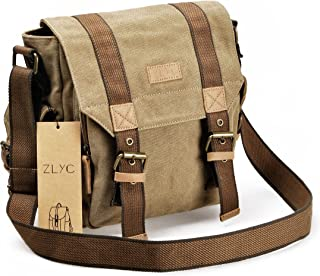 Canvas Messenger Bag ZLYC Vintange Shoulder Bag Military Crossbody Bag iPad Air Satchel Men Leather Trim Bookbag