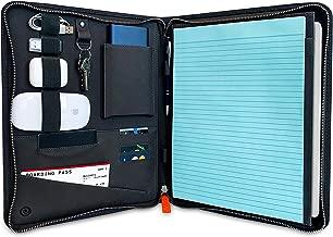 Elavux Leather Portfolio Travel Tech Case Organizer Padfolio Premium | Wallet A4 Work Compendium | Zipped Laptop Tablet Holder, Document Case, Business Case | Durable Saffiano Leather
