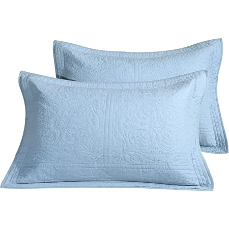Winlife 100 Cotton Quilted Pillow Sham Floral Printed Pillow Cover Light Blue Home Kitchen