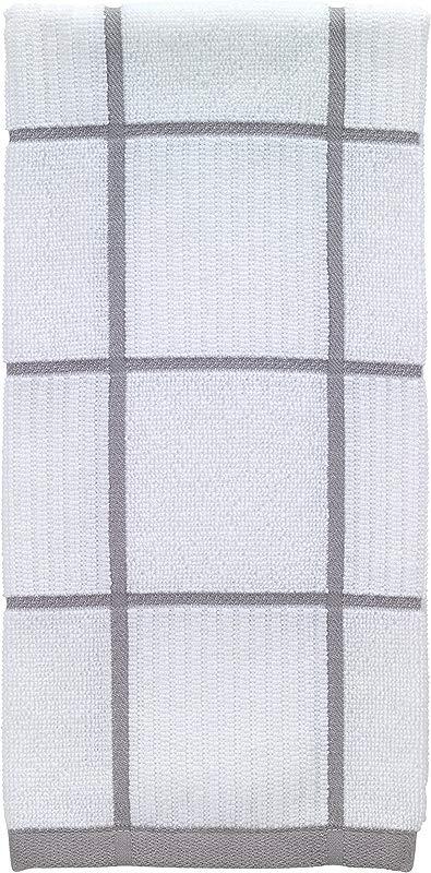 T Fal Textiles 10154 100 Percent Cotton Checked Parquet Kitchen Dish Towel Gray Single
