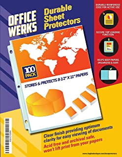 """Clear Sheet Protectors, 8.5"""" x 11"""", 100 Pack, Durable, Top Load,Reinforced Holes, Acid-Free/Archival Safe"""